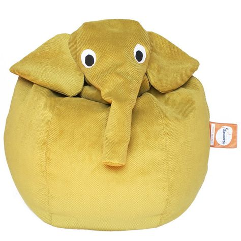 A beanbag elephant is the perfect story time perch.