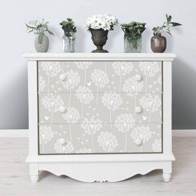 Nuwallpaper Dandelion Peel Stick Wallpaper Gray Peel And Stick Wallpaper Painted Closet Wallpaper Furniture