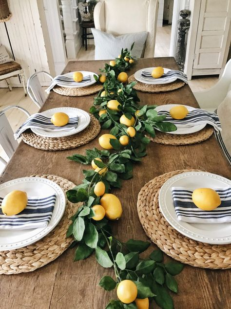 Cute dining room table decor with lemons. Yellow tan and green - Cute dining room table decor with lemons. Yellow tan and green Cute dining room table decor with lemons. Yellow tan and green Dining Room Table Decor, Deco Table, Decoration Table, Room Decorations, Centerpiece Ideas, Dining Rooms, Summer Table Decorations, Lemon Centerpiece Wedding, Greek Party Decorations