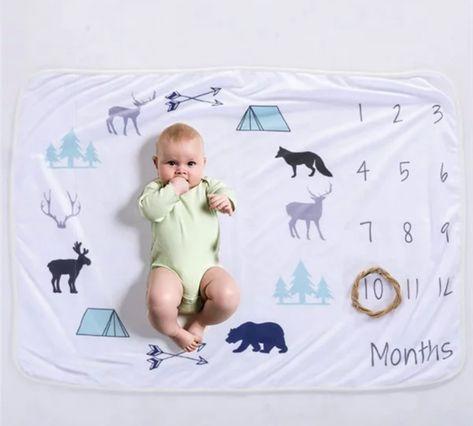 Milestone Blankets - Baby Blue Wilderness