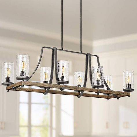 Large Weathered Oak Chandelier for Kitchen Island