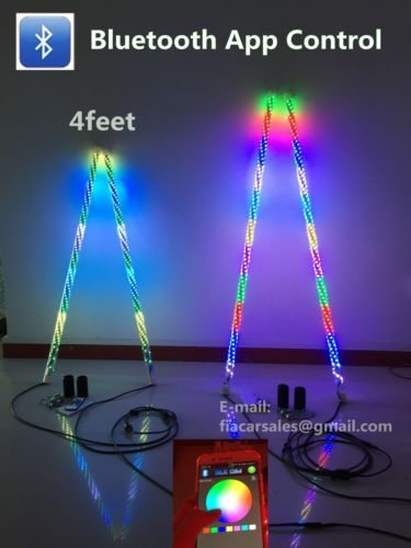 2PCS of 4 Feet Dream Color Color Chasing LED Whip Lights Blue-tooth App Control
