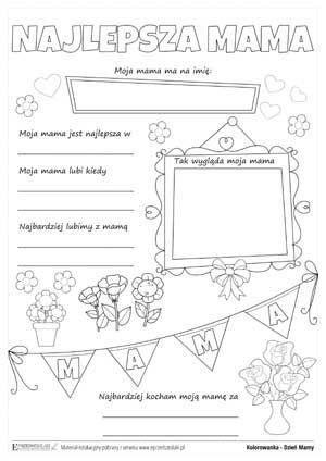 Znalezione obrazy dla zapytania najlepsza mama - karty pracy (With ...