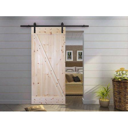 Calhome 38 In X 84 In Z Bar 1 Panel Unfinished Natural Wood Sliding Barn Door With 6 Ft Dark Sliding Door Hardware Kit Walmart Com Barn Doors Sliding Barn Style Sliding