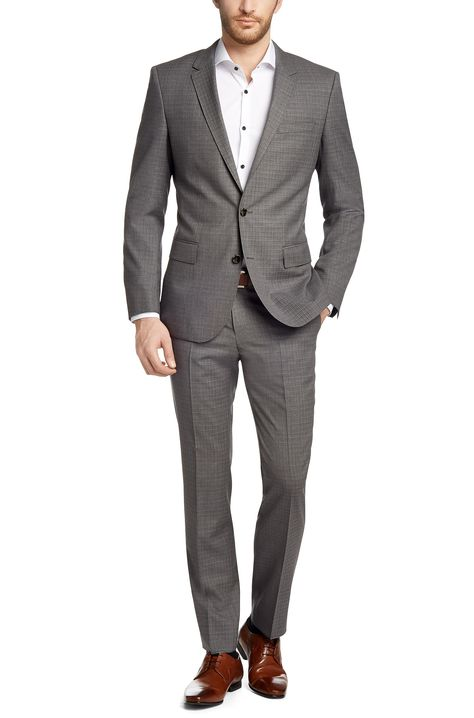 huge discount 29257 b988c BOSS Slim-Fit Anzug ´Huge3/Genius2` aus Schurwolle Grau ...