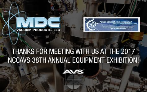 Thank You for Visiting MDC at the NCCAVS 38th Annual Equipment Exhibition!