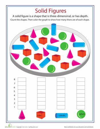 Shape Dimensions: Solid Figures | Math Ideas | Math worksheets