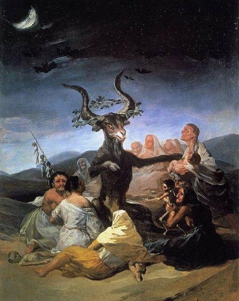 "Vintage Poster Francisco Goya Witches Sabbath Art Rare Vintage Poster - A fantastic poster of the Francisco Goya painting ""Witches' Flight"" (Vuelo de Brujas)! A Fine Art masterpiece. Dark Fantasy Art, Fantasy Kunst, Dark Art, Francisco Goya, Art Sinistre, Art Mural, Large Art Prints, Canvas Art Prints, Art Noir"