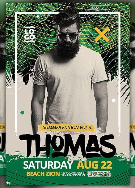 Summer DJ Party Flyer Template PSD