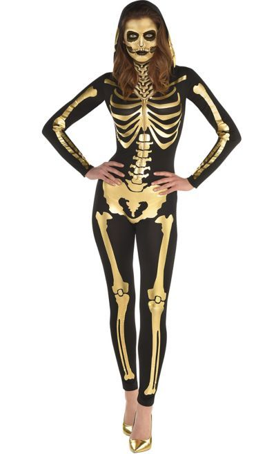 The Gold Skeleton Hooded Catsuit for women is black with a