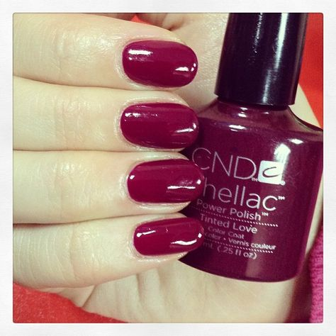 Tinted Lovie shellac color - nice cranberry red for the fall