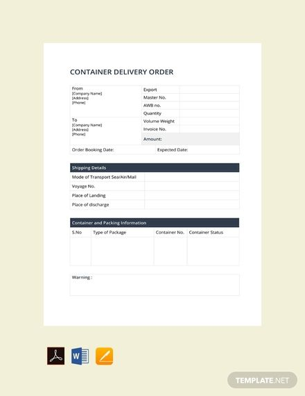 Free Container Delivery Order Templates Word Doc Free