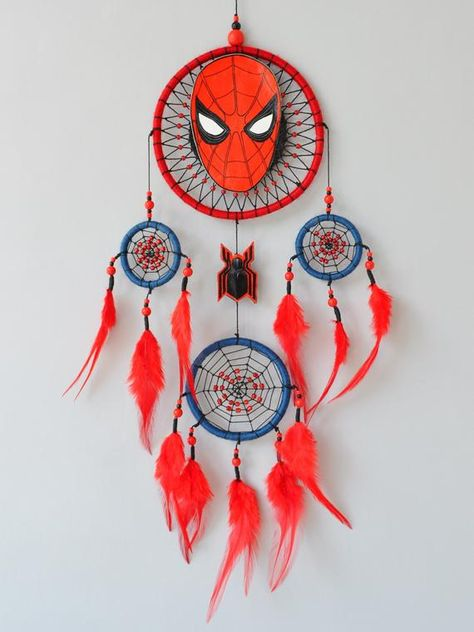 ✪ DREAMCATCHER SPIDER-MAN  - Unique dream catcher with hand painted character. - Place for personal inscriptions on the back side. - Creative gift for superhero fans. Authorial design. - Handcrafted hoops from willow branches in the basis according to traditions of Native Americans. - Height: 20 (52