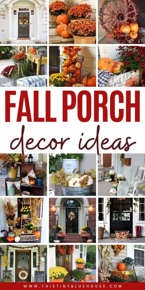 Glam up your front porch this autumn with one or a collection of these 40 gorgeous fall DIY porch decor ideas. These stunning porch ideas are guaranteed to make your porch stand out in your neighborhood. Diy Porch, Porch Ideas, Thanksgiving Decorations, Halloween Decorations, Harvest Decorations, Thanksgiving Crafts, Fall Crafts, Diy Crafts, Fall Projects