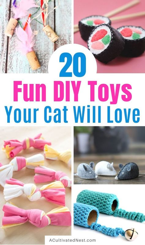 20 Fun DIY Cat Toys- If you want to treat your cat to something new, give them a homemade cat toy! Here are 20 DIY cat toys your cat is sure to love! Homemade Cat Toys, Diy Cat Toys, Cool Cat Toys, Crochet Cat Toys, Sushi Cat, Cat House Diy, Kitten Toys, Kitten Care, Diy Stuffed Animals