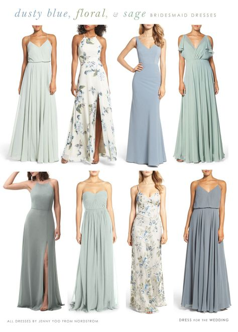 Light Blue, Floral, and Sage Green Mix and Match Bridesmaid Dresses Dusty blue, printed floral, and misty sage green mismatched bridesmaid dresses. All bridesmaid dresses by Jenny Yoo