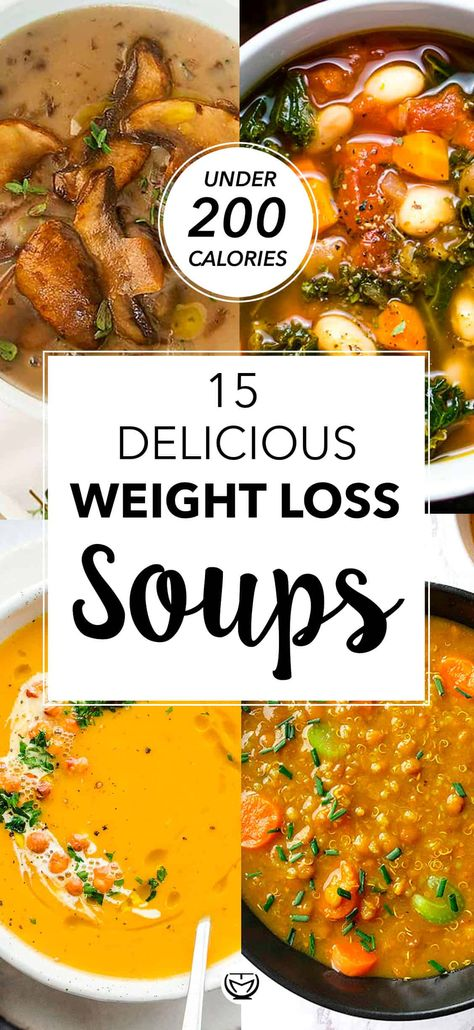 15 delicious and healthy weight loss soups (under 200 calories per serving) Healthy Soup Recipes, Healthy Recipes For Weight Loss, Low Calorie Recipes, Diet Recipes, Low Calorie Soups, Low Calorie Vegetarian Meals, Yummy Healthy Food, Healthy Low Calorie Dinner, Healthy Steak