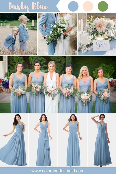 Dusty Blue Bridesmaid Dresses - Dusty blue bridesmaid dresses color inspiration(dusty blue, blush and green). styles, custom m -