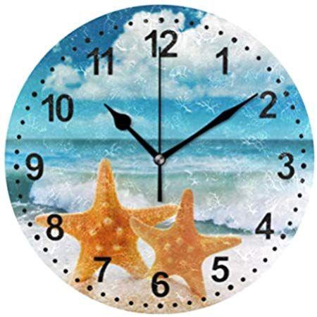 Mnsruu Starfish Wanduhr Non Ticking Silent Kuchenuhr Baduhren Wohnzimmer Wanduhren Derevyannye Chasy Chasy