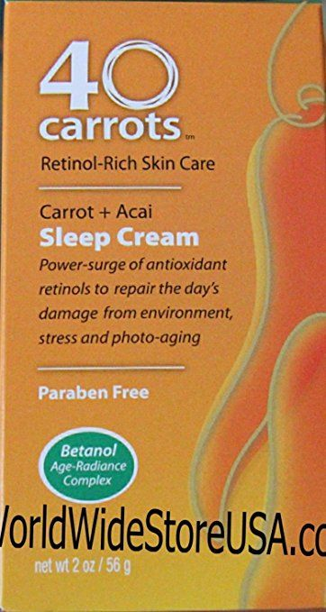 40 Carrots Retinol Rich Skin Care Carrot Acai Sleep Cream 2oz 40 Carrots Retinol Skin Care