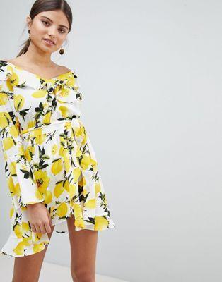 24+ Boohoo off shoulder lemon print dress trends