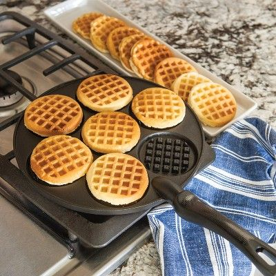 This heavy cast aluminum waffle griddle ensures even heating. Make 3 inch dollar size pancakes in this delightful waffle shape. Durable non-stick finish for easy clean up. Made in USA with imported handle. Think Food, Love Food, Great Food, Cooking Gadgets, Cooking Recipes, Cafe Recipes, Kitchen Gadgets, Dessert Recipes, Cooking Supplies