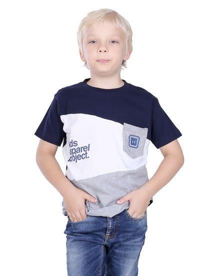 Kaos Anak Laki Laki T 0266 Cotton Combed Biru Kombinasi T