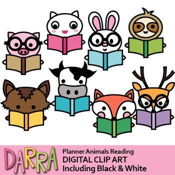 Animals Reading Clip Art Book Clip Art Clip Art Teacher Stickers