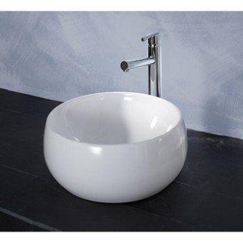 Vasque A Poser Ceramique Diam 38 Cm Blanc Lune Sensea Vasque A Poser Vasque Et Ceramique