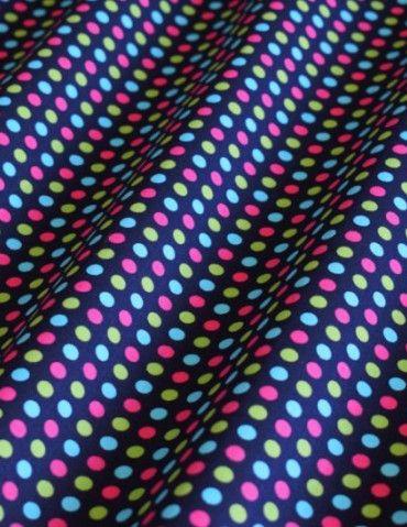 499c8d8b6813 Puntíky barevné - Bavlněné plátno - modrá - 100% bavlna