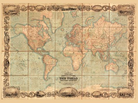 World Map Antique Vintage Old World Map Wall Art Canvas Den Giclee