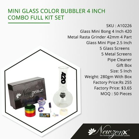 Mini glass color bubbler 4-inch combo full kit set