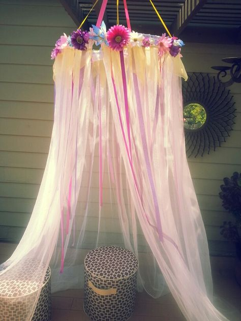 Princess Canopy using a hula hoop, cheap curtains from IKEA, ribbons & flowers from Michael's