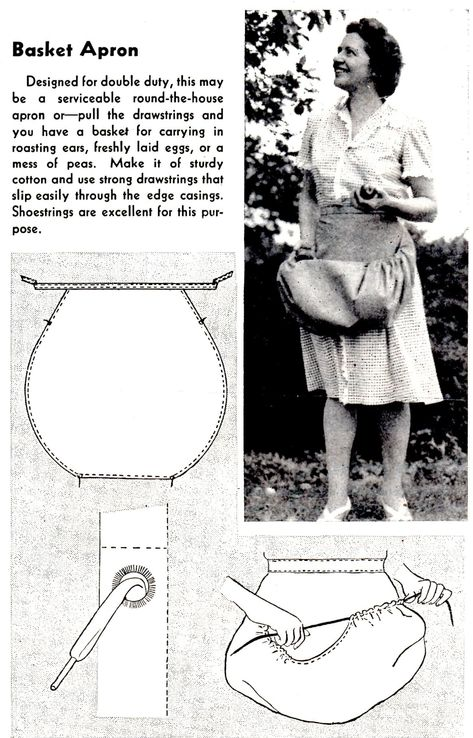 How to Sew a Basket Apron - Vintage Crafts and More (Great idea! - How to Sew a Basket Apron – Vintage Crafts and More (Great idea! Sewing Hacks, Sewing Tutorials, Sewing Crafts, Sewing Tips, Dress Tutorials, Crafts To Sew, Sewing Ideas, Techniques Couture, Sewing Techniques
