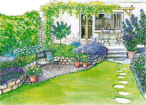 Ideen für einen Reihenhausgarten Gardens, Clematis and Hibiscus