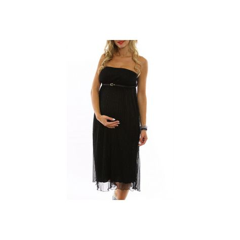 Black-Shimmer-Belted-Maternity-Dress ($59) ❤ liked on Polyvore