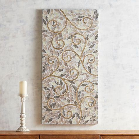 Golden Swirls Mosaic Wall Panel