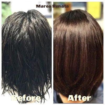 朝のアイロン不要 輝きショート マレーアレナータ縮毛矯正とカラー