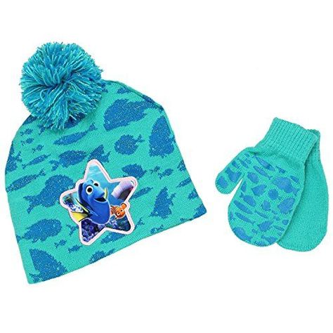 Finding Dory Nemo Toddler Girls Beanie Hat and Mittens Set  74b10b8f836