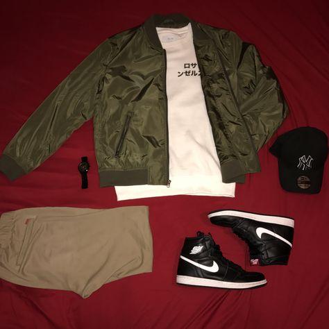 07923b233619 Nike Jordan Retro 1 s Olive green outfit