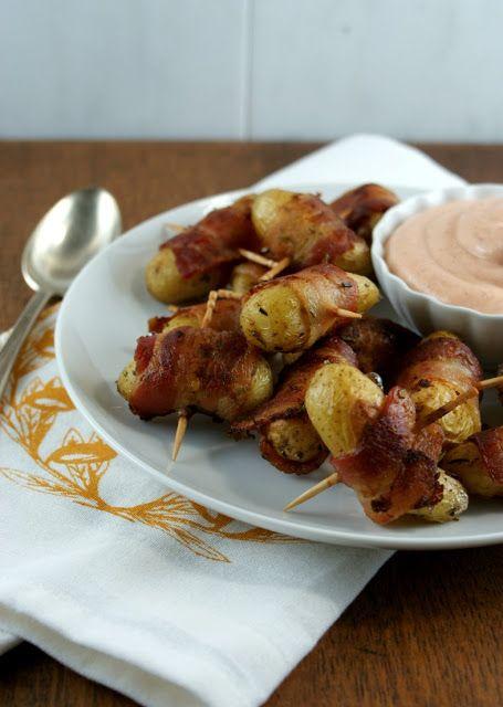 Authentic Suburban Gourmet: Friday Night Bites   Bacon Wrapped Potatoes with Sriracha Sauce