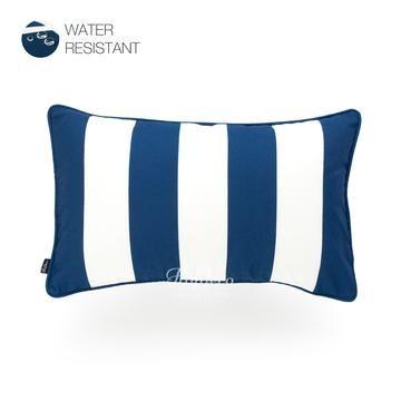 Navy Blue Outdoor Lumbar Pillow Cover Stripes 12 X20 Lumbar Pillow Cover Blue Geometric Pillow Outdoor Pillows Navy