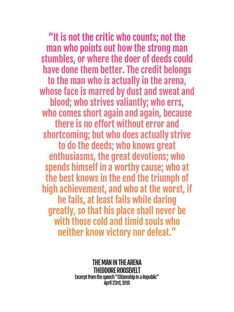Graduation Gift Print, Man in the Arena Quote Poster, Teddy Roosevelt, Inspirational Art, Motivation