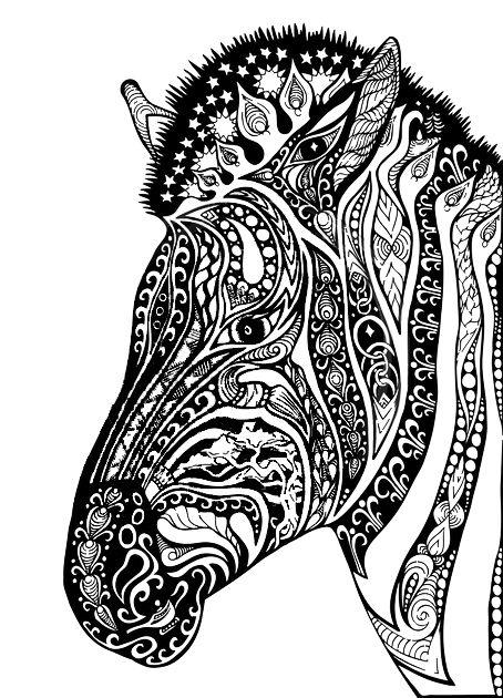 Adult Coloring Pages Zebra  colorear  Pinterest  Adult coloring