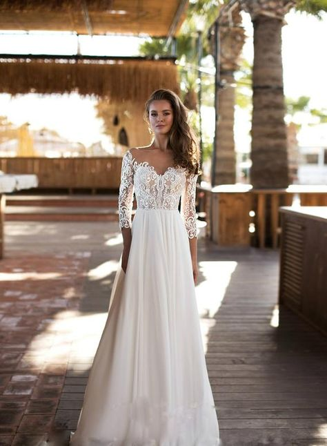 Simple Wedding Gowns, Black Wedding Dresses, Wedding Dress Sleeves, Long Sleeve Wedding, Perfect Wedding Dress, Floral Wedding, Formal Dresses, Lace Bridal Gowns, Cocktail Wedding Dress