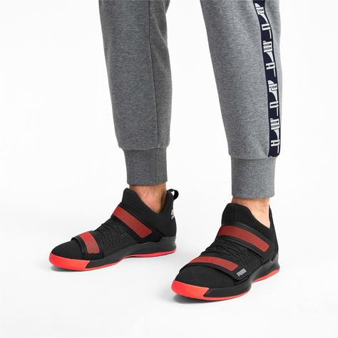 PUMA Rise Xt3 NetFit Handball Shoes in Black/Silver/Red size 10.5