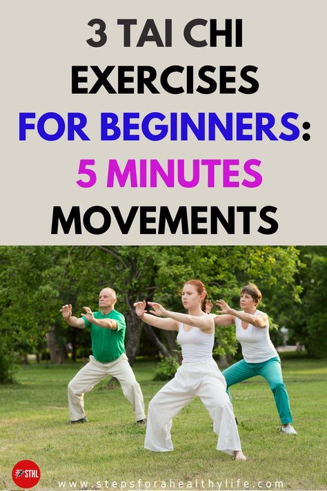 """This gentle form of tai chi moves can help maintain strength, flexibility,and balance, and could be the perfect activity for the rest of your life.Tai chi exercises poses can improve both lower-body strength and upper-body strength. Tai chi is often described as """"meditation in motion,""""and it's health benefits are countless. We have 3 great videos for beginners when you only need to spend 5 minutes a day. It can be added to your morning routine and it will make you feel less stressed by the day"""