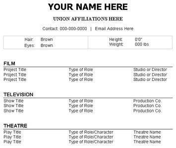 Acting Resume No Experience Template Http Www Resumecareer