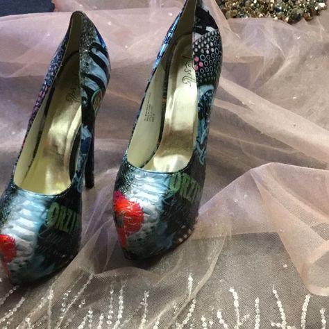 Platform high heels Shoes   Platform Extreme Heels. Just Because You Can   Color: Blue/Red   Size: 9