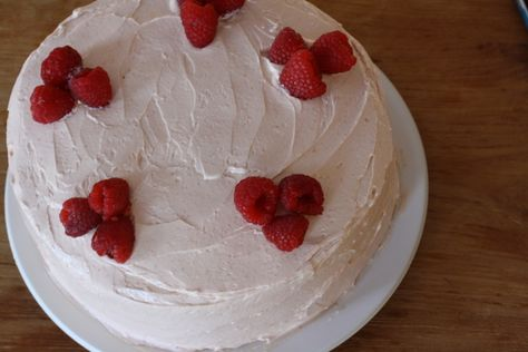Lemon Birthday Cake With Raspberry Buttercream Recipe Desserts Large Eggs Sour Cream Vanilla Extract Flour Sugar Baking Powder